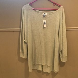 Light green over the shoulder sweater shirt